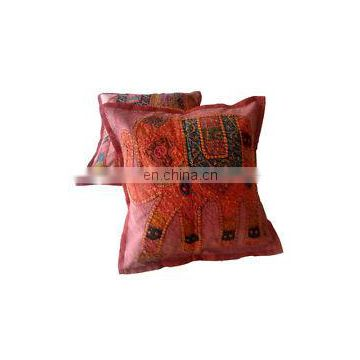 "Indian Elephant Cotton Patchwork Cushion Cover Decor Embroidery Pillow Cover 16"" Embroidered Ethnic decorative Vintage cases"