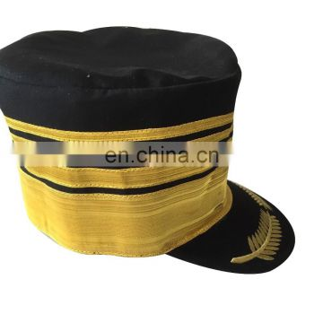 gold braid door man cap/service cap with embroidery visor