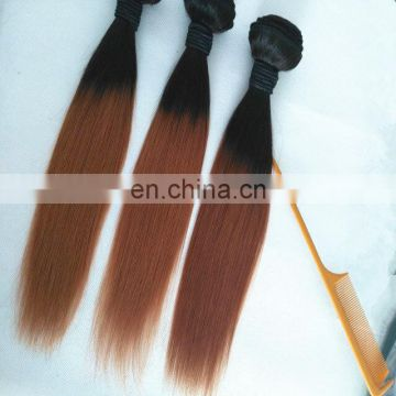 Hot selling 12inch 14inch two tone ombre colored hair weave bundles straight and body wave