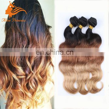 Ombre Brazilian Hair Bundles 24inch to 10inch In Stock Three Color #1B/4/27 Ombre Hair Extension Virgin Braizlian Hair Weaving