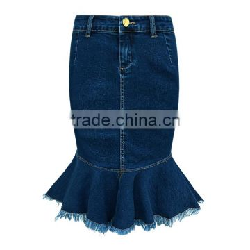 lastest design girls fashion women dark blue raw edges denim elastic jeans skirts