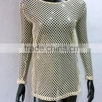 Custom American size long sleeves fishnet dress women sexy beach dress swimsuit cover up