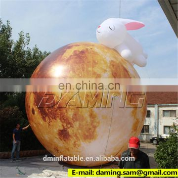 Ground Inflatable moon with rabbit For Mid-Autumn festival Decoration