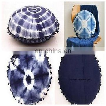 indigo Shibori round pouf cover pillow case