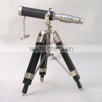 "PEWTER FINISH 10"" BRASS TELESCOPE WITH WOODEN STAND - COLLECTIBLE LEATHER SHEATHED TELESCOPE"