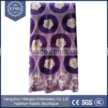 Beautiful design purple african voile lace swiss 2016 nigerian polished cotton fabric for dresses/ wholesale african dry lace