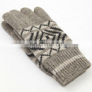 Acrylic glove with jacquard