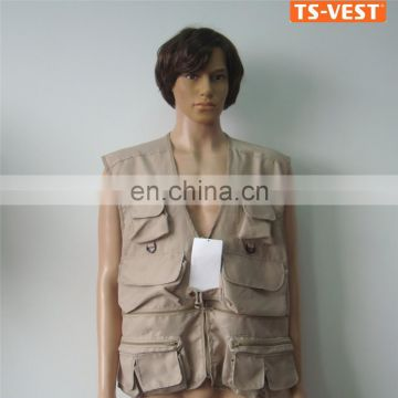 High Quality Plastic Zipper Safety Vest,Outdoor Safety Hunting Vest,Brown Fishing Vest With Pockets