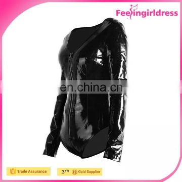Hot 2016 Sexy Black Zipper Front PVC Lingerie Women Long Sleeve Bodysuit