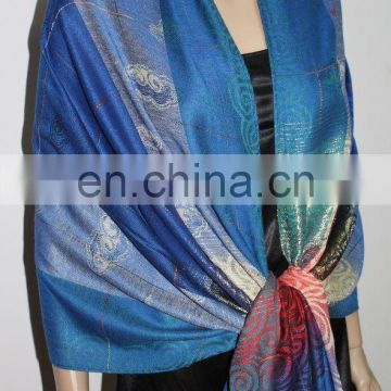 JDP-023_08# printed scarf lucky cloud with golden thread pattern