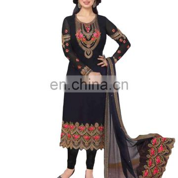 Party Wear Heavy Floral Embroidery Salwar Kameez / Latest Georgette Semi-Stitched Suits 2017 (salwar kameez suits)