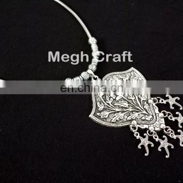 Designer Navratri Oxidized Necklace- Handmade Navratri SILVER Necklace