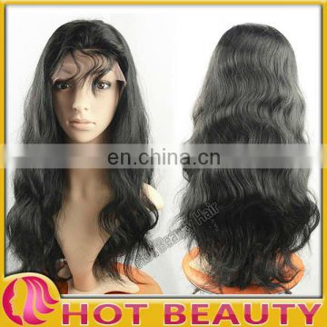 "26"" Long size Indian virgin hair front lace wig"
