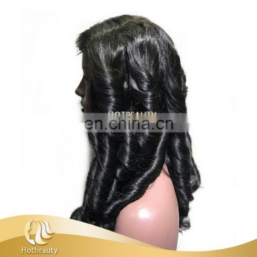 "16"" natural wave virgin brazilian extension unprocessed human lace wigs"