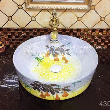 Sanitaryware ceramic wash hand basin sink with unique colorful fashionable round washbasin sink