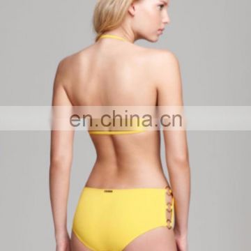 Yellow Bandeau Ring Sides Hipster Swimsuit