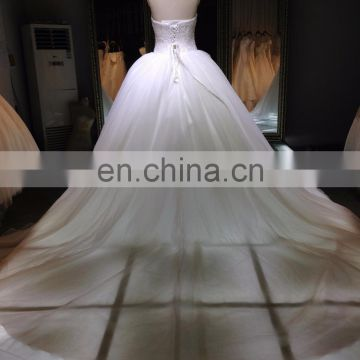 1A004cx Luxury Appliqued Heavy Beaded Ornament Floor-lenght With Long Tail Off Shoulder Sweetheart Wedding Dress 2016