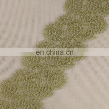 Charming gold silk embroidery lace trim