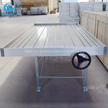 Greenhouse bench metal rolling table ebb and flow system