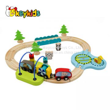 2019 New arrival educational play set wooden parking garage toy for children W04B076