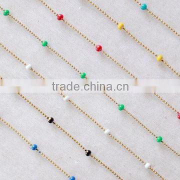 1mm Width Colorful Bead Accessory Chain, Small Round Fashion Antique Brass Ball Chain Wholesale