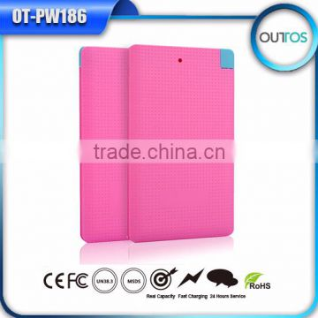 Universal slim credit card power bank 4000mah with cable