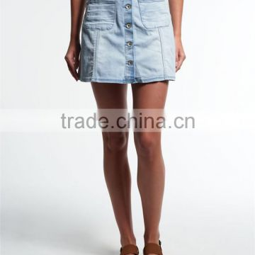2016 Guangzhou Shandao New Fashion Design Summer Casual Women Sexy Short Blue A Line With Pocket Wholesale Denim Skirts