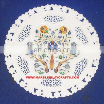 Marble Inlay Plate With Jali Work