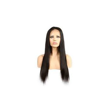 Silky Straight Natural Straight Full Lace Yaki Straight Human Hair Wigs 18 Inches Natural Black