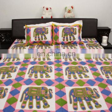 Luxury elephant vintage designing standard size 100% cotton bedsheet pillow sets wholesale comforter bedding set