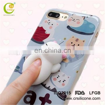 Wholesale Squishy Case Custom Logo TPR Squishy Lazy Cat Phone Case for iPhone 6/6s