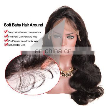 Remy human hair wigs body wave middle part lace front wigs