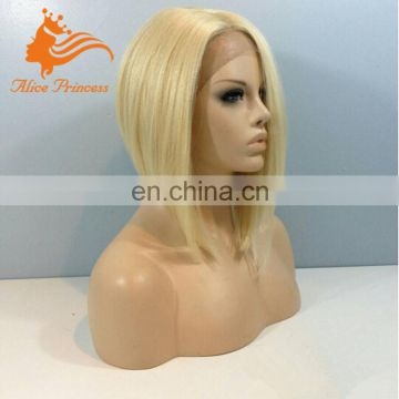 Short Blonde Human Hair Full Lace Wig 613 Virgin Russian Hair Frozen Elsa Wig For Adult Snow Queen