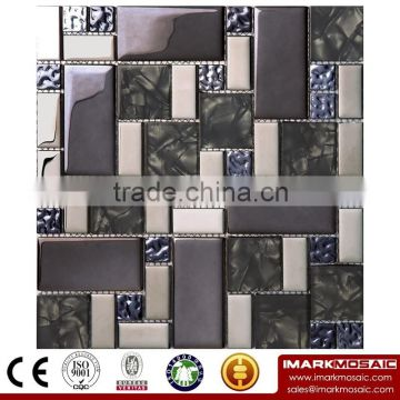 IMARK Mixed Color Crystal Glass Mosaic Tiles and Marble Mosaic Tiles for Wall Floor Border Countertop Backsplash Code IXGM8-004