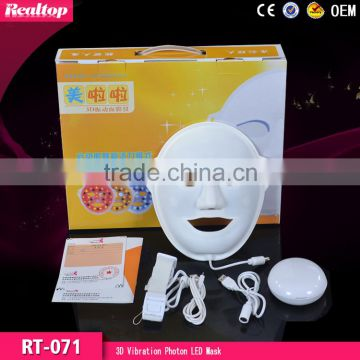 Wholesale Beauty Supply!!!3D Vibration Photon LED Facial Improve fine lines Mask/Magic Skin Rejuvenation Led Masks/Led Pdt Bio-light Therapy Skin care