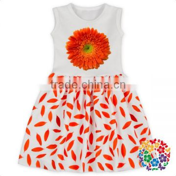 Princess Flower Print White Lovely Kids Dress Sleeveless Fairy Frocks Designs Girl Baby Dress