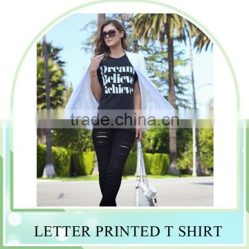Promotional large size S-L black white OEM Letter printed women tops Shirts tee shirt for women