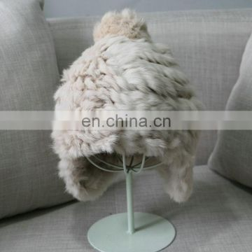 Girl cute rabbit fur earflap winter hats thicker weaven fur hats wholesale
