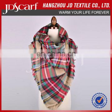 Wholesale Checked factory plaid tartan blanket scarf shawl