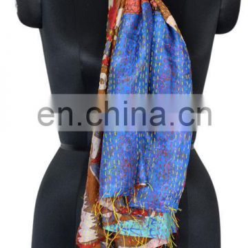 Silk Sari Shawl Reversible Handmade Re-cycled Silk Scarf / Stole Multicolor Multiuse Unique Handwoven Kantha Work quilted Hijab