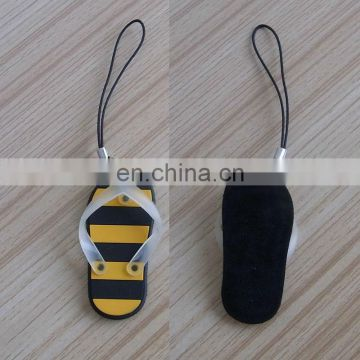 mini custom 3D pvc flip flop cellphone strap,rubber slippers sandals screen cleaner mobile phone hanging charms