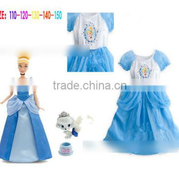 2015 Kids Party Cosplay Costume Cute Girl blue Cinderella Princess dress Halloween Costumes fancy dress