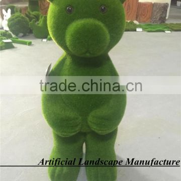 high quality green moss bear,fake green grass moss animal lovely moss in guangzhou