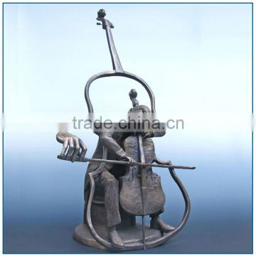 Abstract Life Size Man Playing violoncello Bronze Musician Sculpture
