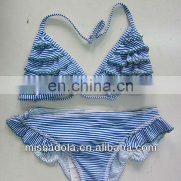 2014 baby kid's new design two piece blue swimwear bikini