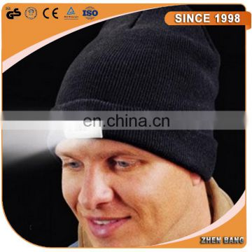100% Acrylic Knitting beanie hat with led light inside black color LED Beanies for Christmas gift