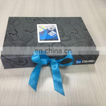 Total custom small computer & charger and line gift box with magnetic & ribbon closure