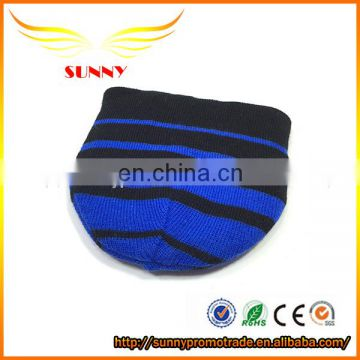 Wholesale hat beanie with woven patch blue stripe cap
