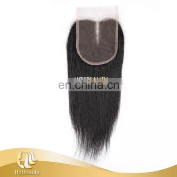 "middle parting lace closure Virgin Human Hair 1b# silk straight 8""-24"""