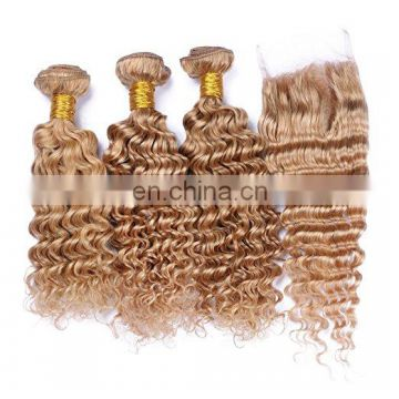 Brazilian hair double drawn blonde color deep wave weave human hair
